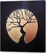 Tree Of Life Purple With Gold Moon Canvas Print