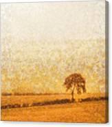 Tree On Hill At Dusk Canvas Print