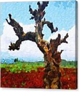 Tree On Red Land Painting Canvas Print