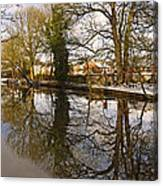 Trees Beside The Wintry Rolleston Pond Canvas Print