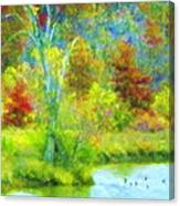 Trees In Spring On A Lake Canvas Print