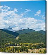 Trees On Canadian Rockies Along Route Canvas Print