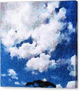Trees Under Blue Cloudy Sky Painting Canvas Print
