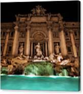 Trevi Fountain Illuminated At Nighttime Canvas Print