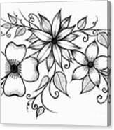 Tri-floral Sketch Canvas Print