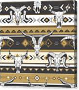 Tribal Seamless Pattern With Skulls Of Canvas Print