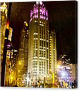 Tribune Tower On A Rainy Night Canvas Print