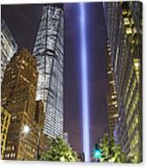 Tribute In Light And Freedom Tower Canvas Print