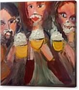 Trio In Cafe Canvas Print