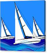Trio Of Sailboats Canvas Print