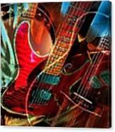 Triple Header Digital Banjo And Guitar Art By Steven Langston Canvas Print