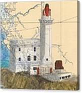 Triple Islands Lighthouse Bc Canada Chart Art Canvas Print