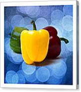 Triptych - Pepper Traffic Lights 2 Canvas Print
