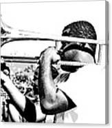 Trombone Man Bw Canvas Print