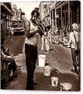 Trombone Man On Royal St. New Orleans Canvas Print