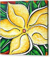 Tropical Abstract Pop Art Original Plumeria Flower Painting Pop Art Tropical Passion By Madart Canvas Print