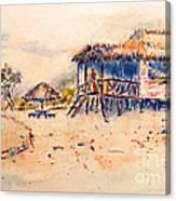 Tropical  Beach Hut Canvas Print