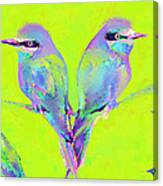 Tropical Birds Blue And Chartreuse Canvas Print