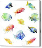 Tropical Fish Round Canvas Print