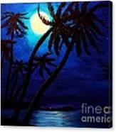 Tropical Moon On The Islands Canvas Print