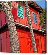 Tropical Orange House Palm Trees - Whoa Now Canvas Print