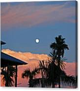 Tropical Sunset With The Moon Rise Canvas Print