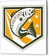 Trout Jumping Retro Shield Canvas Print
