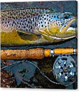Trout On Fly Canvas Print