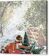 Truck Carrying Christmas Trees Canvas Print