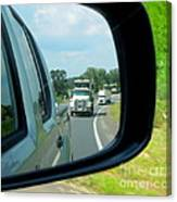 Trucks In Rear View Mirror Canvas Print