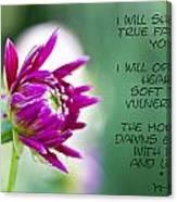 True Face - Poem - Flower Canvas Print