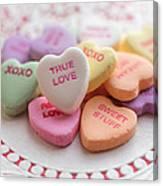 True Love Valentine Candy Hearts Canvas Print