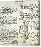 Trumpet Patent Drawing Canvas Print