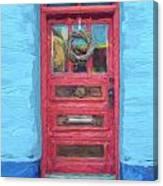 Tucson Barrio Red Door Painterly Effect Canvas Print