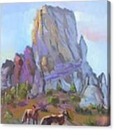 Tucson Butte With Two Coyotes Canvas Print