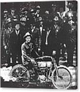 Tucson Police Department  On Steps Of City Hall With 1st Police Motorcycle C. 1917 Tucson Arizona Canvas Print