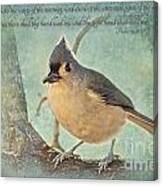 Tufted Titmouse With Verse IIi Canvas Print