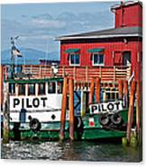 Tug Boat Pilot Docked On Waterfront Art Prints Canvas Print