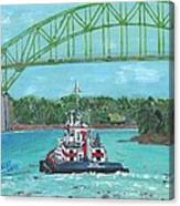 Tug Sabine Under Bourne Bridge Canvas Print