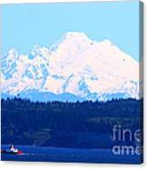 Tug With Mt Baker Canvas Print