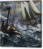 Tugboat And Lumber Schooner In Storm Canvas Print