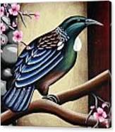 Tui And Cherry Blossom Canvas Print