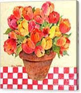 Tulips And Checks Canvas Print