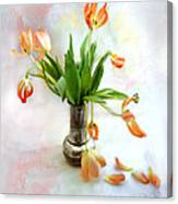 Tulips In An Old Silver Pitcher Canvas Print