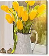 Tulips In Antique Jug Canvas Print