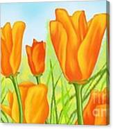 Tulips In Grass Canvas Print