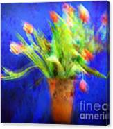 Tulips In The Blue Canvas Print