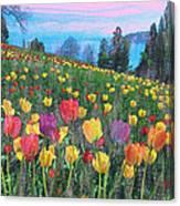 Tulips Lake Canvas Print