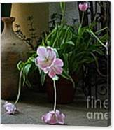 Tulips With Earthenware Jar And Wrought Iron Canvas Print
