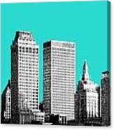 Tulsa Skyline - Aqua Canvas Print